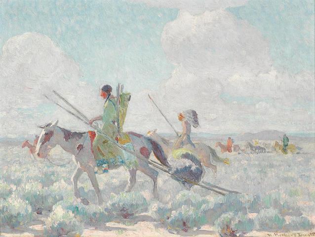 William Herbert Dunton (1878-1936) Blackfeet Indians moving to the Buffalo Range 12 x 16in framed 15 x 19in