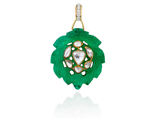 A CARVED EMERALD AND DIAMOND PENDANT, GEORGES LE SACHÉ,
