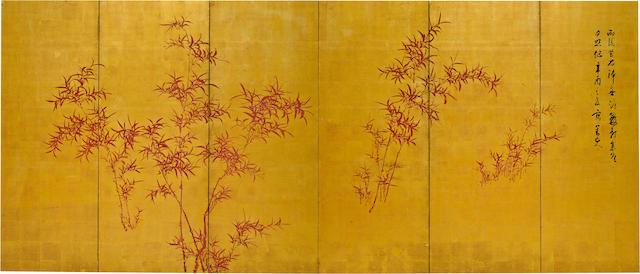 HINENO TAIZAN (1813-1869) Red BambooEdo period (1615-1868), dated 1861