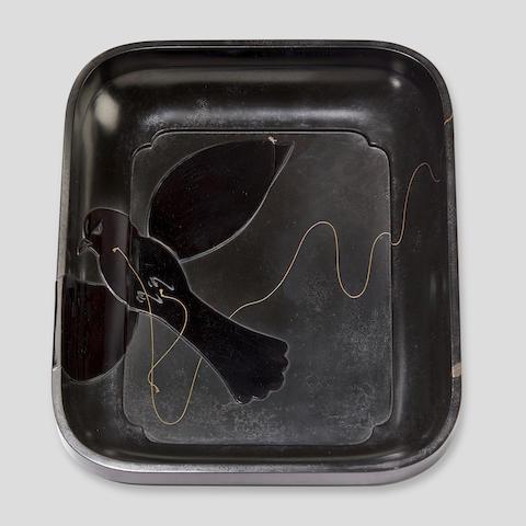 Shibata Zeshin (1807-1891) A tobacco tray with a bird-shaped kiteMeiji era (1868-1912), circa 1870-1890