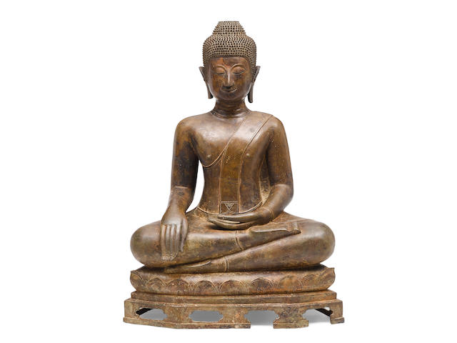 A Cast bronze seated figure of the Buddha Thailand, 17th/18th century