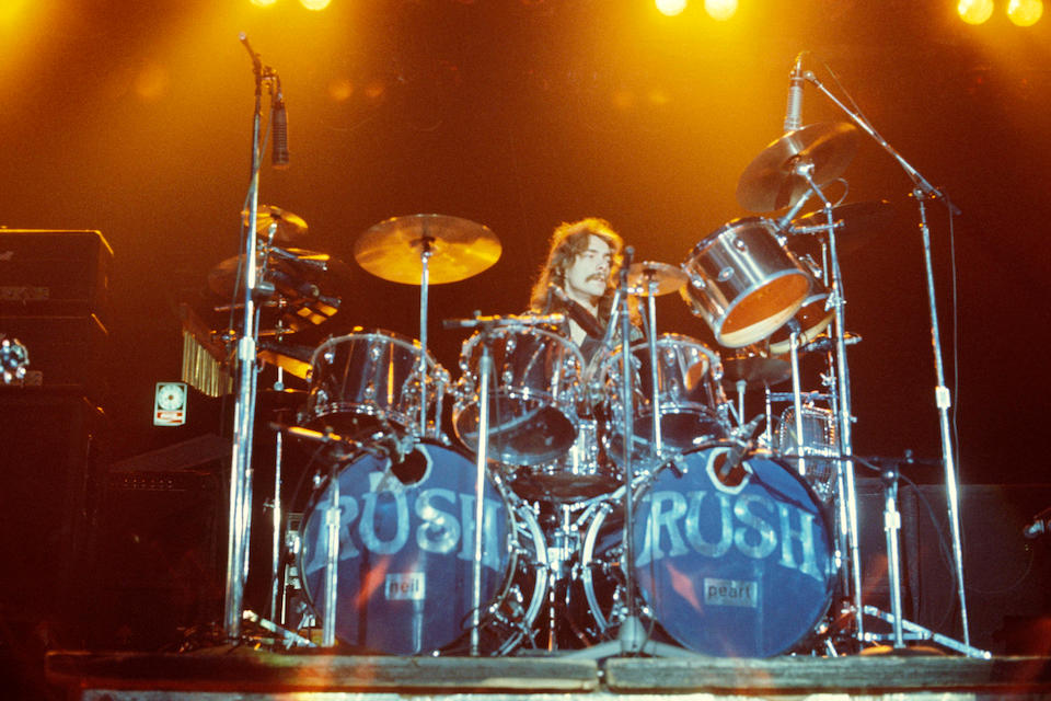 NEIL PEART'S CHROME SLINGERLAND DRUM KIT USED WITH RUSH FROM 1974-1977.