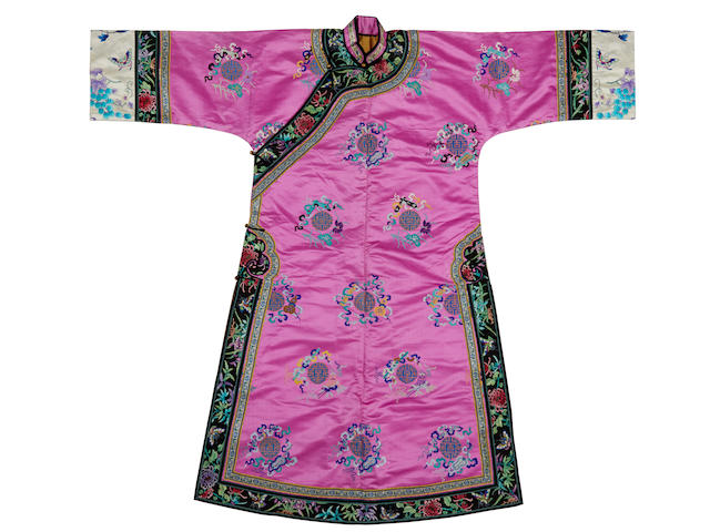 A purple brocade silk informal robe Late Qing/Republic Period