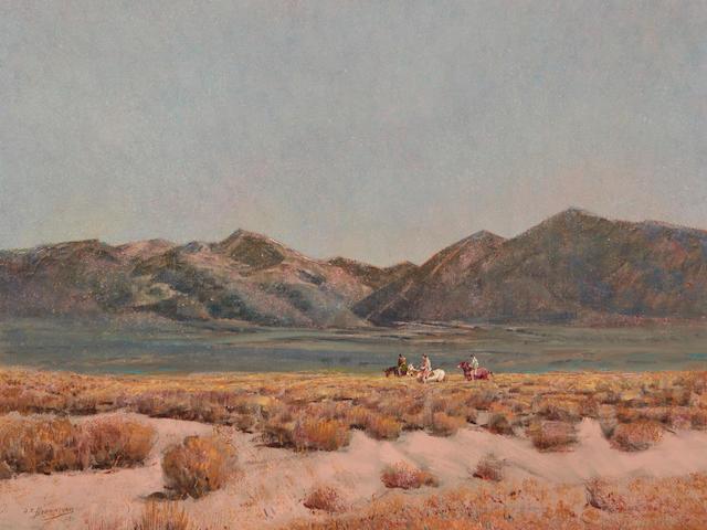 Oscar Edmund Berninghaus (1874-1952) Sagebrush in December (The Rabbit Hunt, Taos Valley) 20 x 24in framed 30 x 34in (Painted in 1951.)