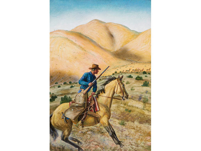 Peter Hurd (1904-1984) Antelope Hunter 31 x 21in framed 39 x 28 1/2in (Painted in 1954.)