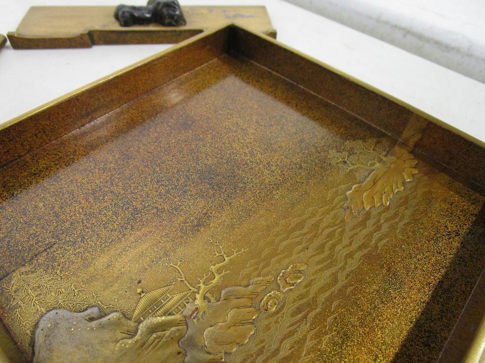 An inlaid lacquer SUZURIBAKO (WRITING BOX)  Edo period (1615-1868), 18th/19th century