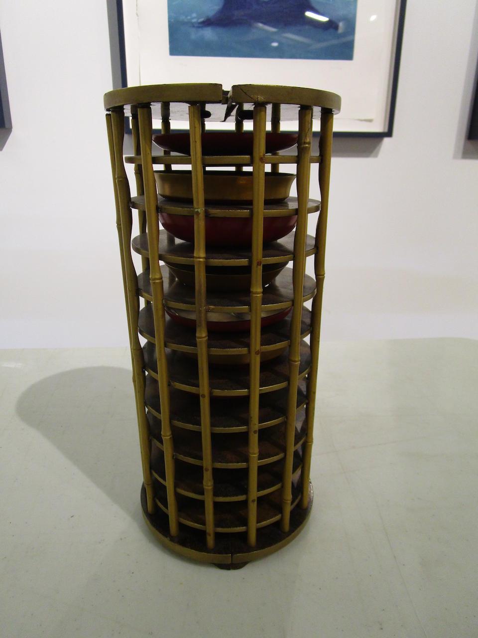 Yamada Jokasai (active 19th century) A set of ten lacquer sake cups in a carrying caseEdo period (1615-1868), 19th century