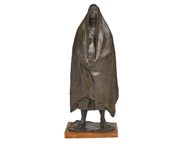 Francisco Zúñiga (1912-1998) Mujer de pie con rebozo1971patinated bronze, signed 'Zuñiga' and dated along the base, edition III/VI height 23 3/4in (60.3cm); width 9 1/2in (24.2cm); depth 6 3/4in (17.2cm)
