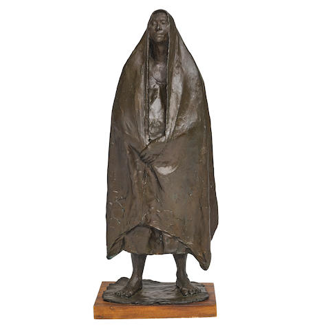Francisco Zúñiga (1912-1998) Mujer de pie con rebozo1971patinated bronze, signed 'Zuñiga' and dated along the base, edition III/VI height 23 3/4in (60.3cm); width 9 1/2in (24.2cm); depth 6 3/4in (17.2cm)