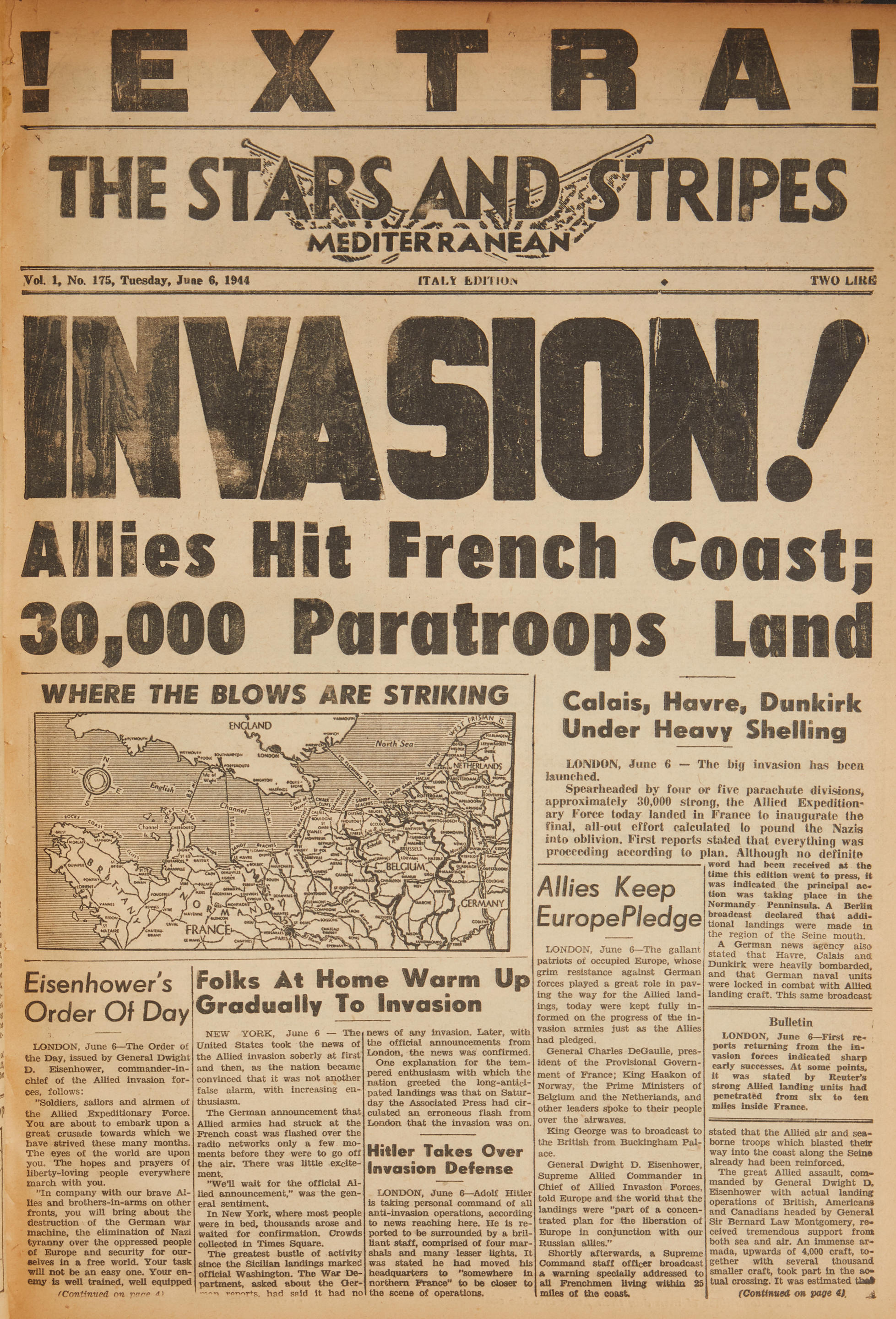STARS AND STRIPES NEWSPAPER, MEDITERRANEAN ISSUE.