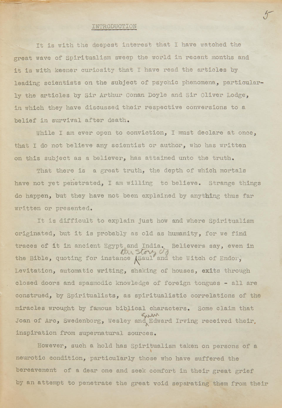 """ORIGINAL FULL-LENGTH HOUDINI TYPED MANUSCRIPT, HEAVILY ANNOTATED. HOUDINI, HARRY. 1874-1926. Annotated Typescript Signed (""""Harry Houdini""""), for Magician Among the Spirits, heavily annotated with autograph emendations by Houdini,"""