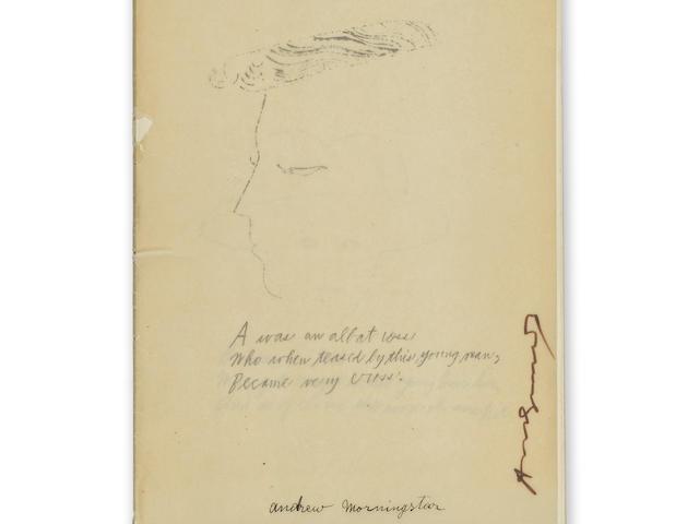 "SIGNED WARHOL ALPHABET. WARHOL, ANDY. 1928-1987. AND RALPH THOMAS WARD (""CORKIE""). A is an Alphabet (Feldman & Schellman IV.1-26). New York: Self-published, 1957."