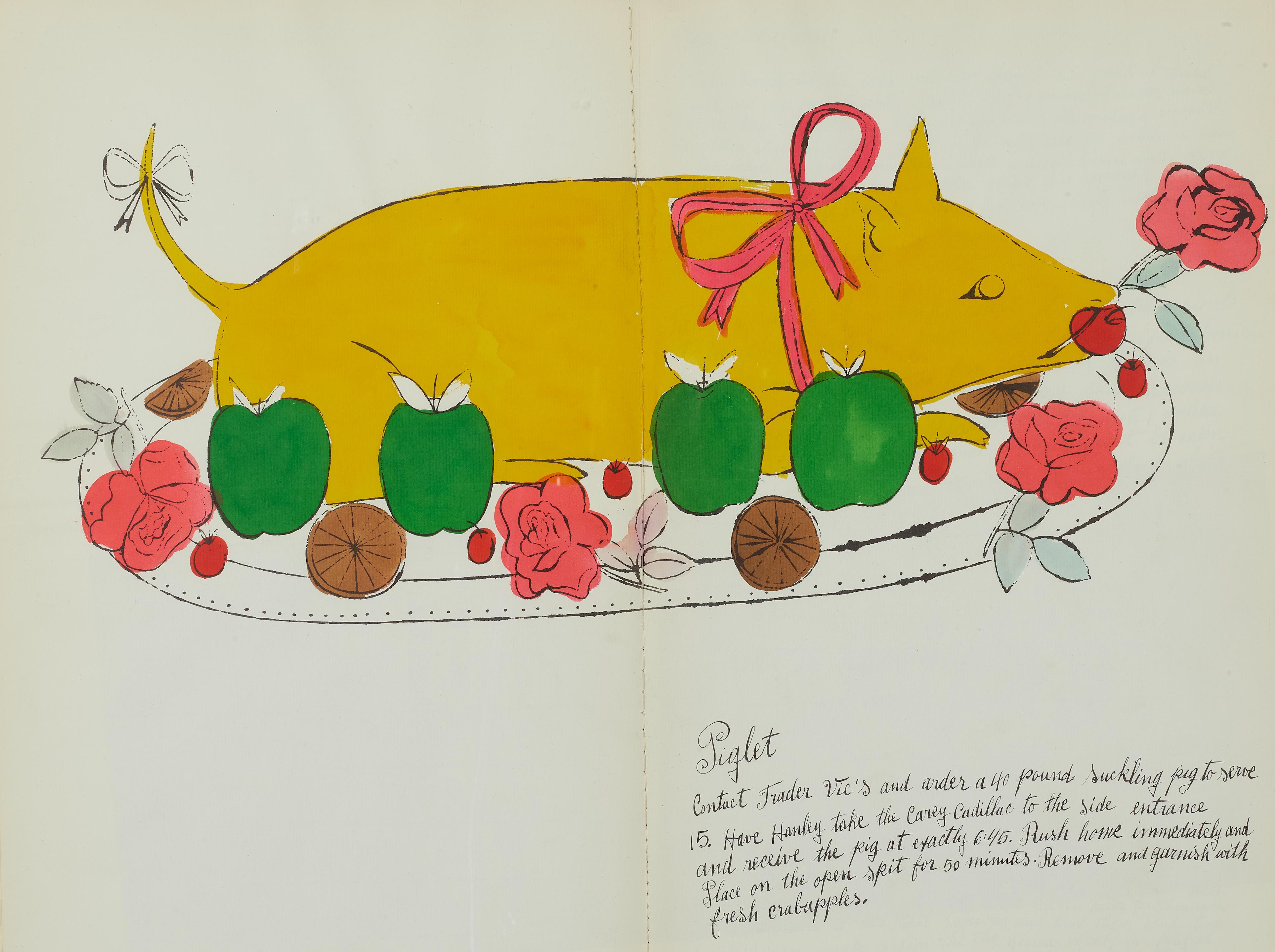 WILD RASPBERRIES, INSCRIBED TO FASHION ICON D.D. RYAN. WARHOL, ANDY. 1928-1987; and SUSIE FRANKFURT (RECIPES). Wild Raspberries. [New York: Printed by Seymour Berlin, 1959.]
