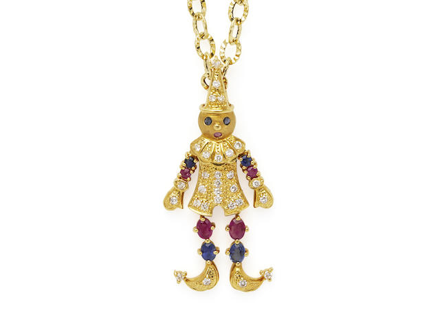 GOLD, RUBY, SAPPHIRE AND DIAMOND CLOWN PENDANT