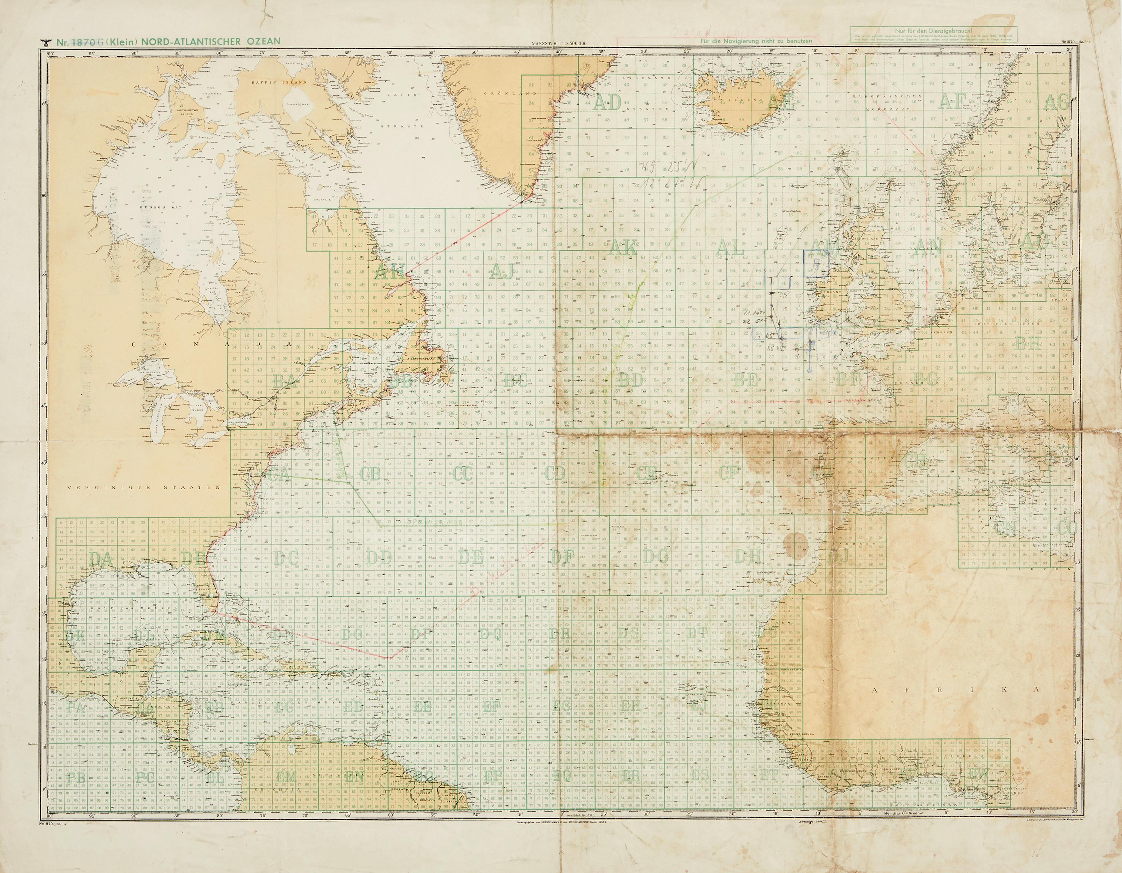 GERMAN U-BOAT CHART OF THE NORTH ATLANTIC.