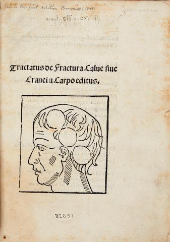 BERENGARIO DA CARPI, GIACOMO. C.1460-1530.  Tractatus de fractura calve sive cranei. Bologna: Hieronymus de Benedictus, 1518.