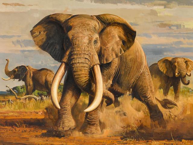 Bob Kuhn (1920-2007) Elephants in the African Veldt 32 x 40in framed 42 x 49 3/4in (Painted in 1962.)