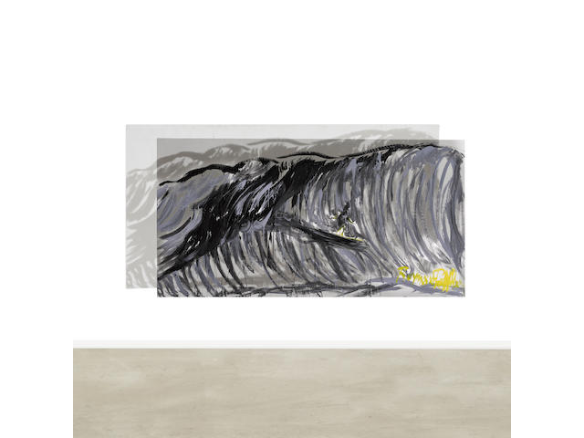 RAYMOND PETTIBON (b. 1957) No Title (Surfer in the Great Wave), 1993 (This work is accompanied by a video of Raymond Pettibon creating the present lot.)