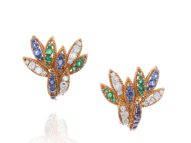 VAN CLEEF & ARPELS: PAIR OF GOLD, DIAMOND, SAPPHIRE AND EMERALD EAR CLIPS
