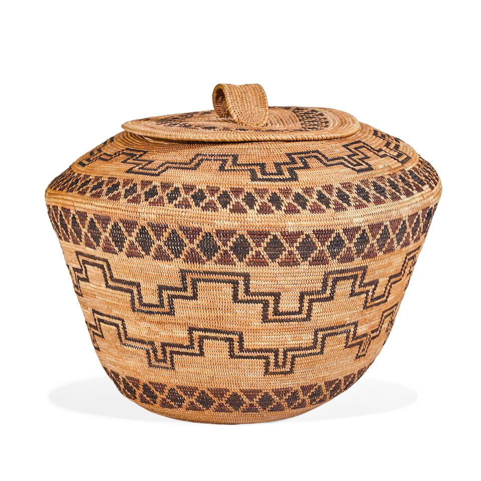 A large Yokuts polychrome lidded basket