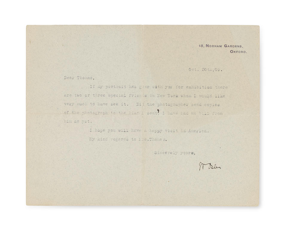 """OSLER, WILLIAM. 1849-1919. Two Typed Letters Signed (""""Wm Osler"""") to artist Seymour Thomas (""""Dear Thomas""""), whose portrait of Osler was completed in early 1909,"""