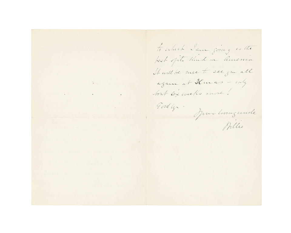 "OSLER, WILLIAM. 1849-1919. Autograph Letter Signed (""Your loving uncle, Willie"") to Britton Bath Osler Francis (as ""Dear Old Jack""), on leaving Philadelphia for Baltimore,"