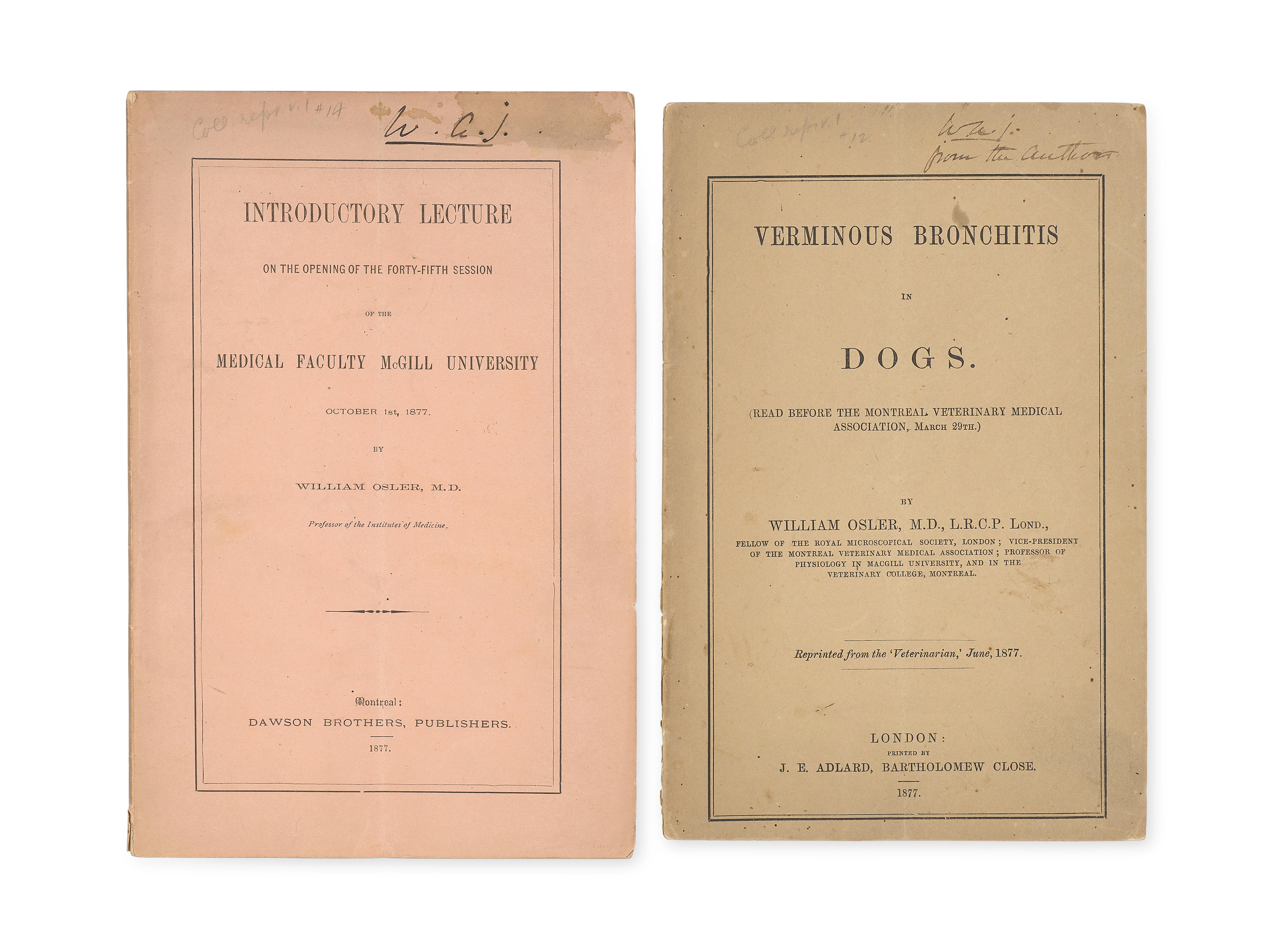 """OSLER, WILLIAM. 1849-1919. Two early pamphlets inscribed to """"W.A.J."""" presumably William Arthur Johnson, Osler's first influential teacher, including:"""