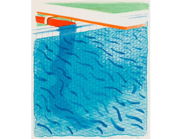 David Hockney (born 1937); Pool made with paper and blue ink for book;
