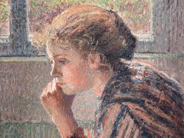 "CAMILLE PISSARRO (1830-1903) Tête de jeune-fille de profil dite ""la Rosa"""