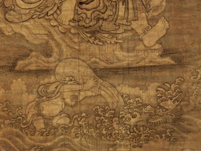 A THANGKA OF ARHAT NAGASENA   SCHOOL OF CHOYING DORJE, EASTERN TIBET OR YUNNAN PROVINCE, 17TH/18TH CENTURY
