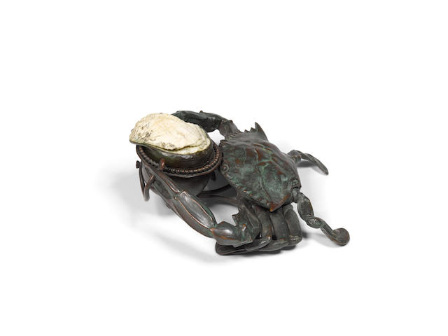 Tiffany Studios (1899-1930) Crab Inkwellcirca 1902patinated bronze, shell, with glass liner, stamped 'TIFFANY STUDIOS NEW YORK 23547 L1' with maker's monogramheight 3 1/2in (8.8cm); width 8in (20.3cm); depth 8in (20.3cm)