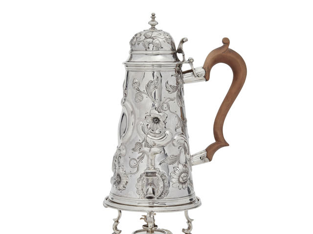 A GEORGE I SILVER CHOCOLATE POT ON WARMING STAND by Joseph Ward, London, 1704