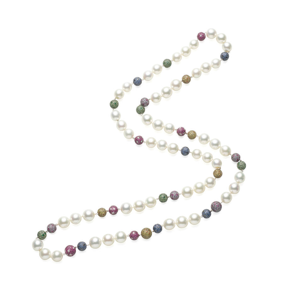 18K WHITE GOLD, CULTURED PEARL, SAPPHIRE AND DIAMOND NECKLACE