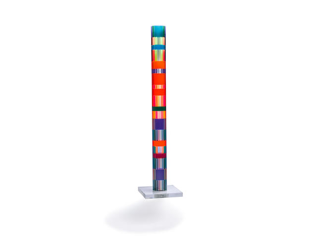 Vasa Velizar Mihich (born 1933) Cylindrical Column1975laminated acrylic, etched '#788 Vasa'height with base 80 1/2in (204.5cm); diameter 7in (17.8cm); width of base 18in (45.7cm); depth of base 18in (45.7cm); height of base 2in (5.1cm)