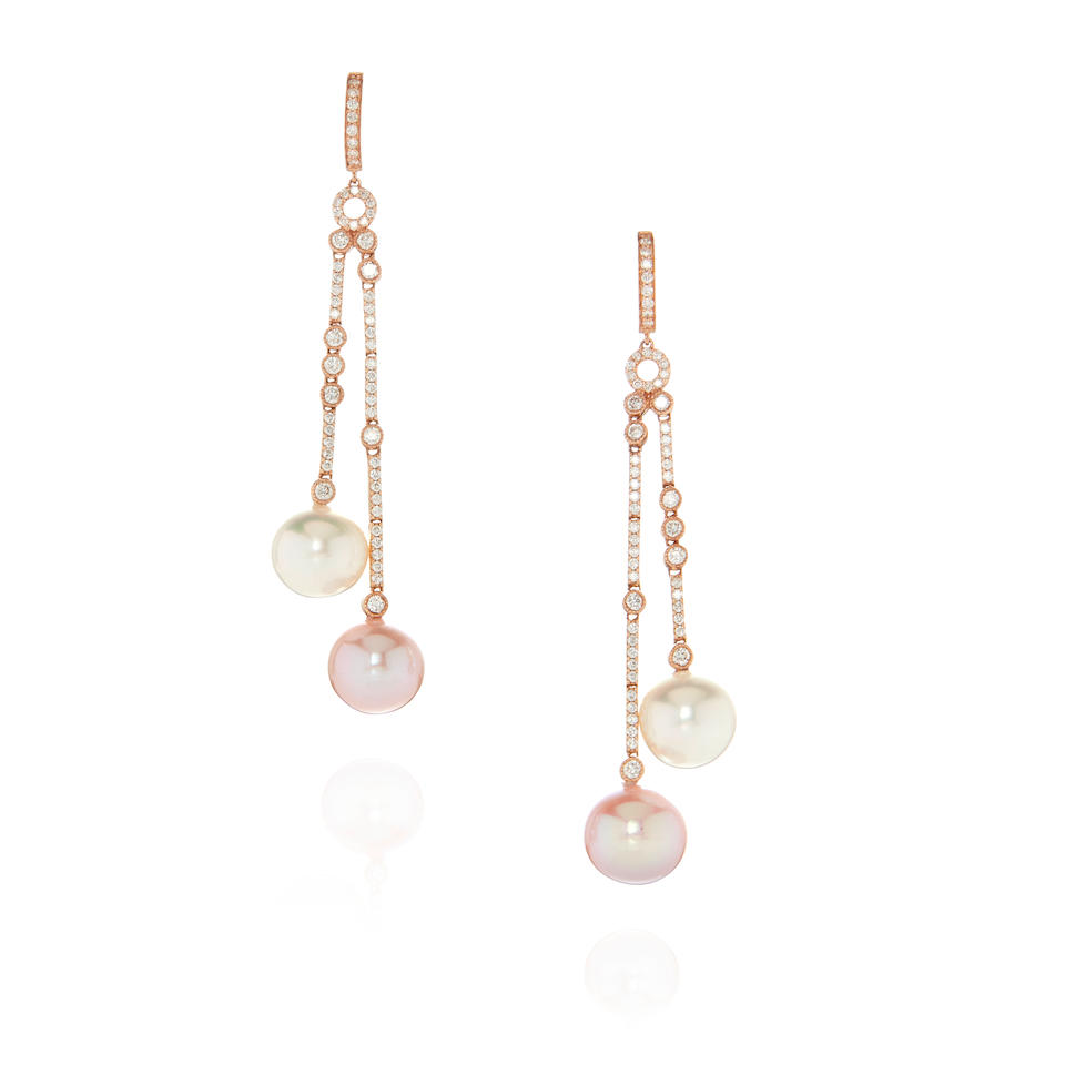 PAIR OF 18K ROSE GOLD, CULTURED PEARL AND DIAMOND PENDANT EARRINGS