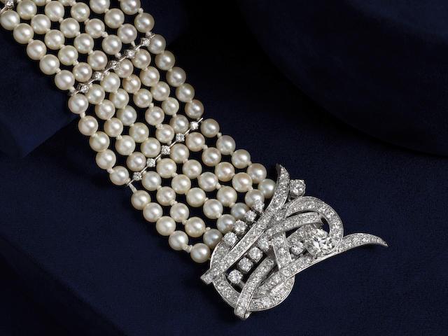 PLATINUM, 14k WHITE GOLD, CULTURED PEARL AND DIAMOND BRACELET