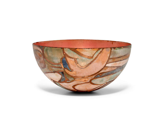 June Schwarcz (1918-2015) Bowlelectroplated copper, enamel, etched 'Schwarcz' and '819' on undersideheight 4in (10cm); diameter 8in (20cm)
