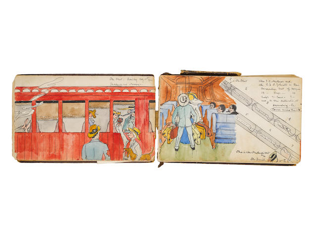 NEVADA AND CALIFORNIA: WATERCOLOR ALBUM. JOHNSTON, CHARLES HAVEN LADD. 1877-1943. Album containing 58 watercolor scenes of Nevada and the west, with an additional 54 pages of text only, oblong 8vo, Nevada and California, July to November, 1902,
