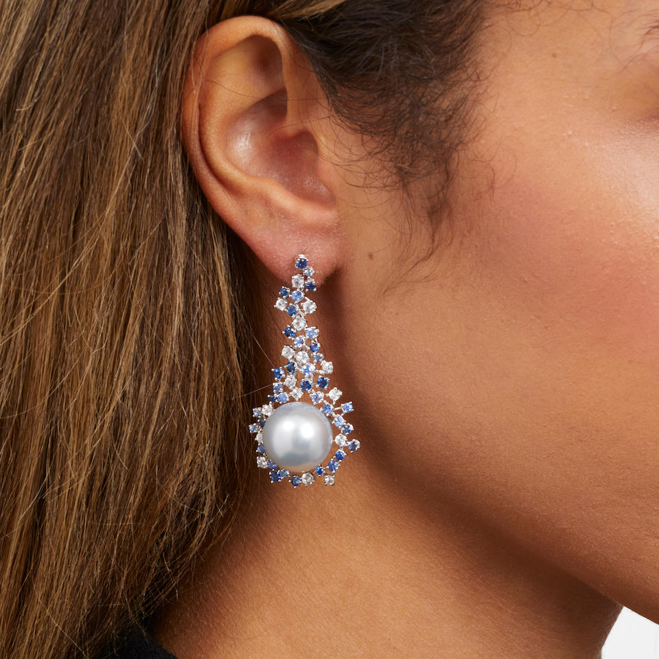 PAIR OF WHITE GOLD, CULTURED PEARL AND SAPPHIRE PENDANT EARRINGS