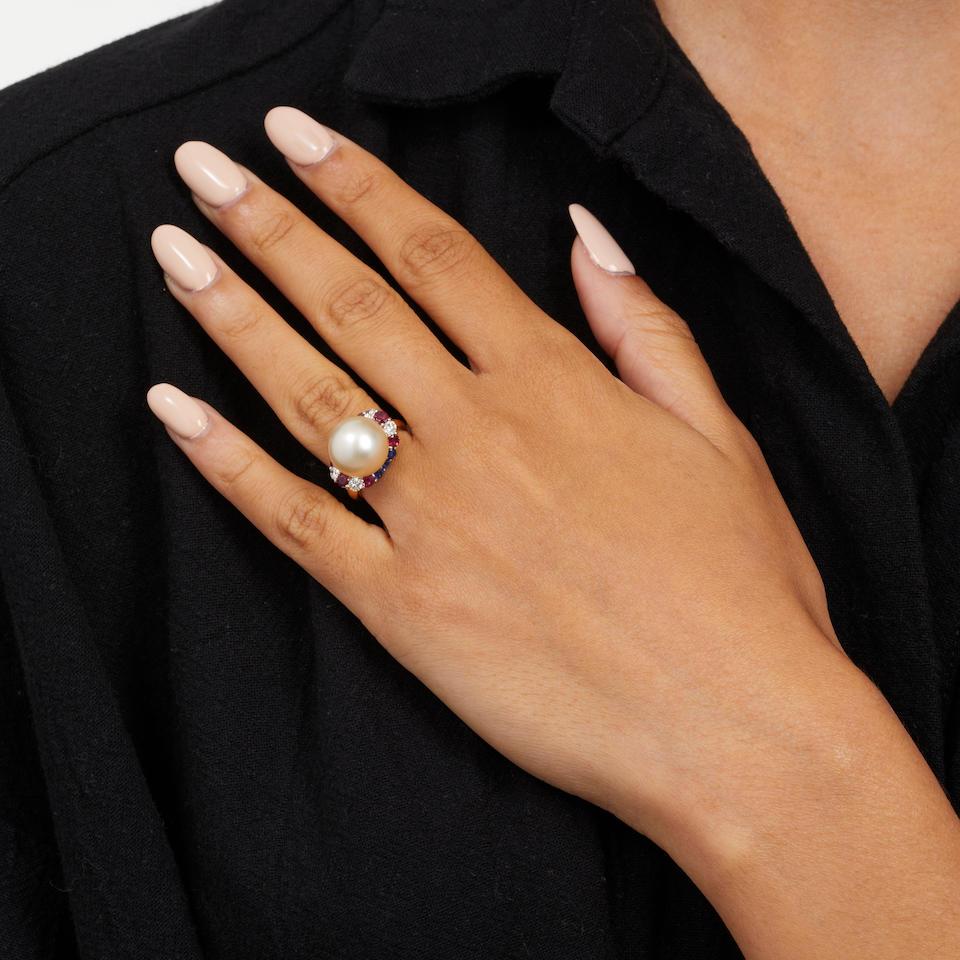 18K BI-COLOR GOLD, CULTURED PEARL, GEM-SET AND DIAMOND HALO RING