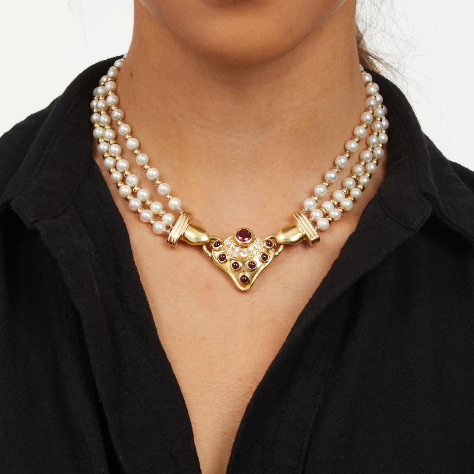18K GOLD, CULTURED PEARL, RUBELLITE AND DIAMOND NECKLACE