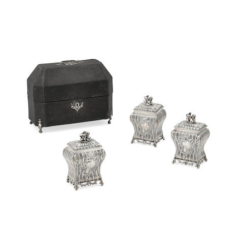 A SET OF THREE GEORGE II SILVER TEA CADDIES by William Grundy, London, 1768