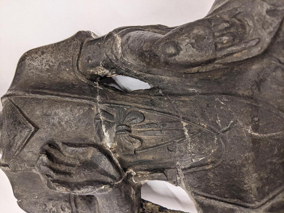 A rare black stone figure of Maitreya Northern Wei Dynasty, Longmen Caves, 5th/6th century