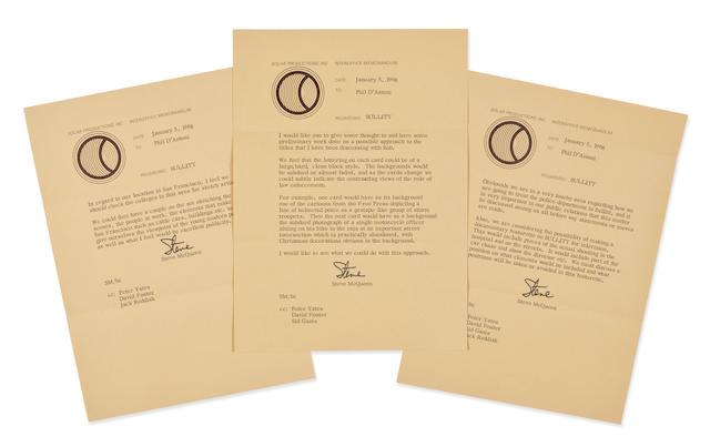 Three Steve McQueen letters to Philip D'Antoni regarding Bullitt