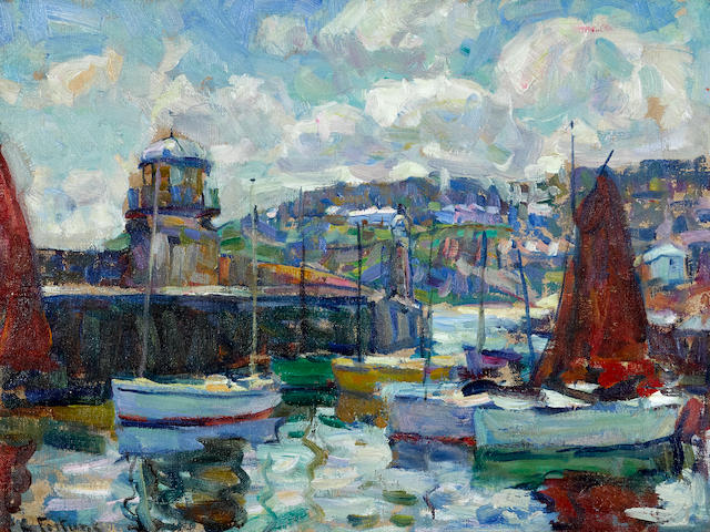E. Charlton Fortune (1885-1969) The Harbour Light, St. Ives 12 x 16in framed 17 3/4 x 21 3/4in (Painted in 1923.)