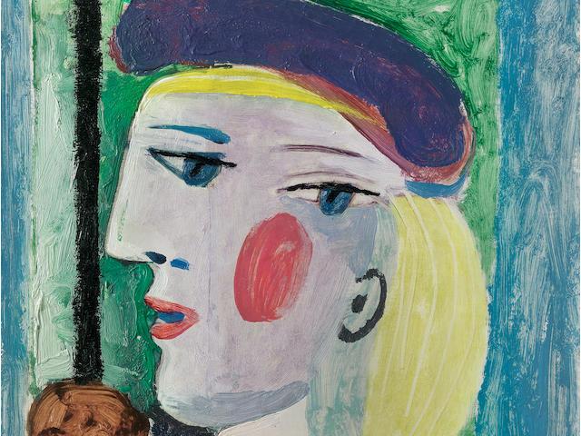 PABLO PICASSO (1881-1973) Femme au béret mauve 16 1/8 x 13 in (41 x 33 cm) (Painted on March 27, 1937)