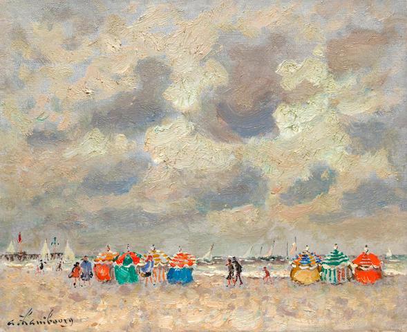 ANDRÉ  HAMBOURG (1909-1999) A Trouville marée haute temps couvert 8 11/16 x 10 5/8 in (22 x 27 cm) (Painted circa 1965)