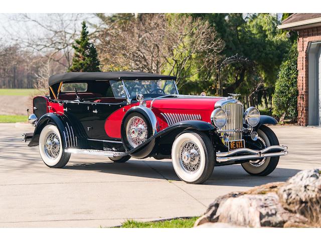 <b>1933 Duesenberg Model J 'Sweep Panel' Dual-Cowl Phaeton  </b><br />Chassis no. 2355 (see catalog) <br />Engine no. J-281 (see catalog)<br />Body no. 1007 (see catalog)