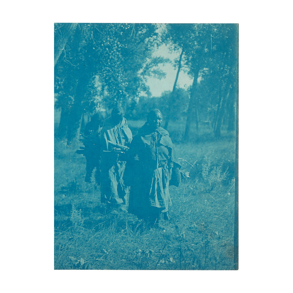 A GROUP OF CURTIS CYANOTYPES FROM VOLUME VI OF NORTH AMERICAN INDIAN. CURTIS, EDWARD S. 1872-1954. 26 cyanotypes, featuring images of Cheyenne tribes from Volume VI, including portraits, still lifes, and photographs made en plein air, many of which are related to or variants of published images, the images measuring approximately 8 x 6 inches (203 x 152 mm), all numbered in grease pencil on the reverse and a few additionally titled and annotated, c.1907.