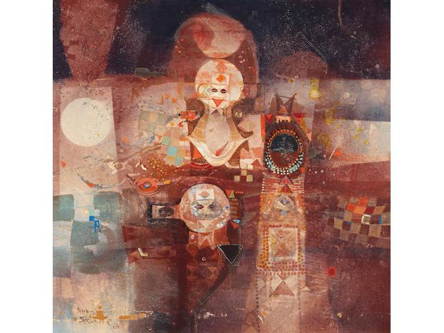"Alexander ""Skunder"" Boghossian (Ethiopian, 1937-2003) Juju's Wedding Feast 47.5 x 47.5in (120.6 x 120.6cm)"